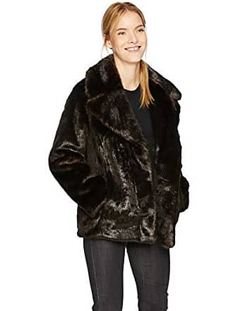 Kendall + Kylie Womens Faux Mink Coat, Brown, Medium