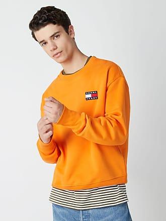 Tommy jeans pull en maille à rayures avec logo orange