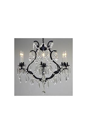 Gallery T40-181 Wrought Iron 6 Light 1 Tier Crystal Candle Style
