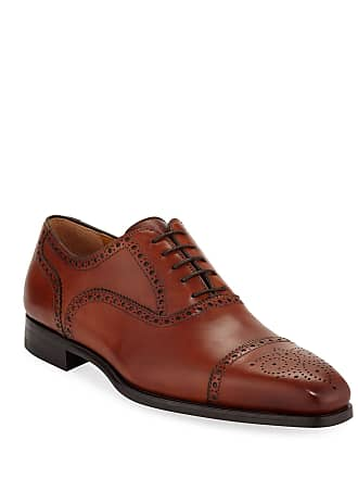 Magnanni Mens Brogued Leather Lace-Up Oxfords