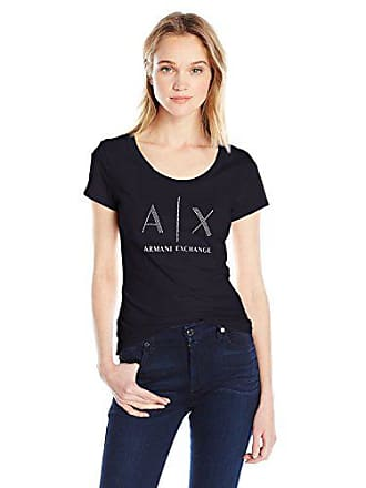 A|X Armani Exchange Womens Ax Studded Logo Scoop Neck Jersey T-Shirt, Navy, X-Large