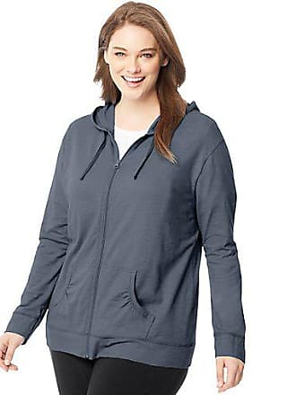 c753d14e027 Just My Size Slub-Cotton Full-Zip Lightweight Womens Hoodie Dada Grey  Heather 1X