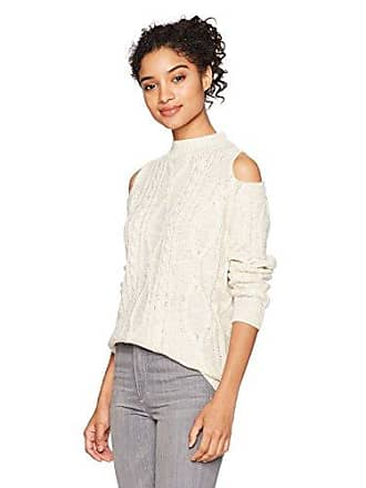 By Design Juniors Long Sleeve Cold Shoulder Mock Neck Cable Stitch Pullover, Ivory, Extra Large
