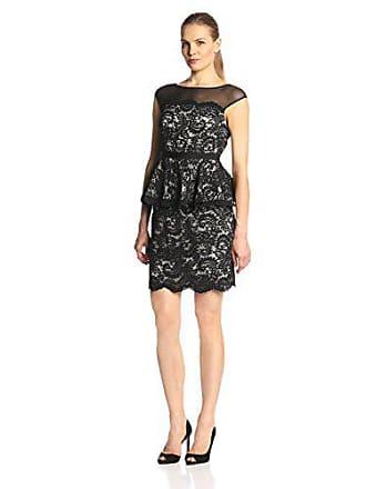 Eliza J Womens Sleeveless Illusion Lace Peplum Dress, Black, 6