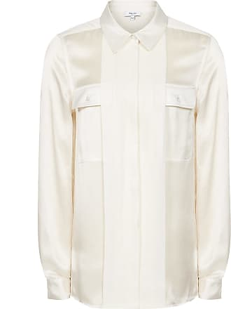 0158c3f31a9470 Reiss Indra - Silk Twin Pocket Blouse in Off White, Womens, Size 10