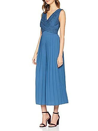 e900aefc53b1c2 Little Mistress Damen Kleid Margot Blue Lace Top Pleat Midaxi Dress