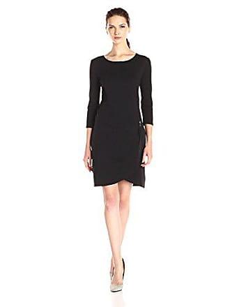 Joan Vass Womens Three Quarter Sleeve Scoop Neck Dress, Black, 0