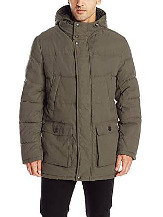 Dockers Mens Micro Twill Long Hooded Parka, Olive Small