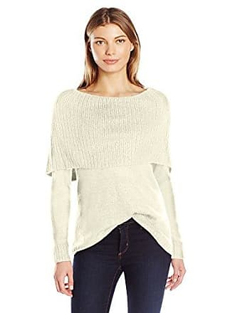 Kensie Womens Tissue Knit Sweater with Cowl Neck, French Vanilla, M