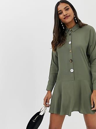 Asos Vid skjortklänning i minilängd med kontrasterande knappar - Kakifärgad 6a9f6910aaf21