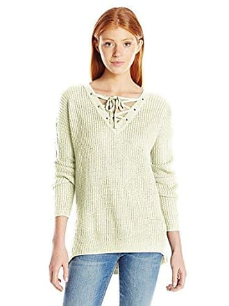 By Design Love By Design Juniors Lace up Front Pullover Sweater, Cream, Medium