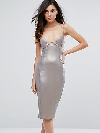 Ra-Re London High Shine Plunge Pencil Dress - Silver