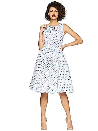 Unique Vintage Doheny Swing Dress (Light Blue/Polka Dots) Womens Dress
