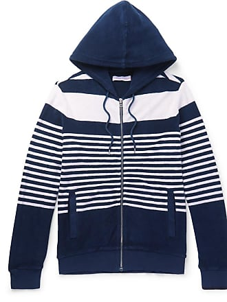 Orlebar Brown Striped Cotton-terry Zip-up Hoodie - Blue