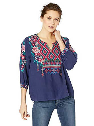 Johnny Was Womens Boxy Peasant Blouse with Embroidery, Navy M