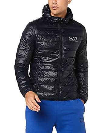 Emporio Armani EA7 Mens Train Core Down Hooded Jacket, Night Blue, XX-Large