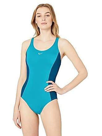 d82ae2f2b37 Nike Swim Womens Color Surge Powerback One Piece Swimsuit, Light Blue Fury,  Large