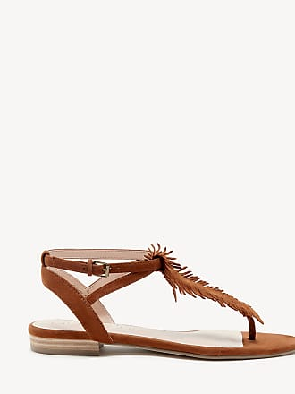 Sole Society Womens Mara T Strap Flat Sandals Cognac Size 9 Suede From Sole Society