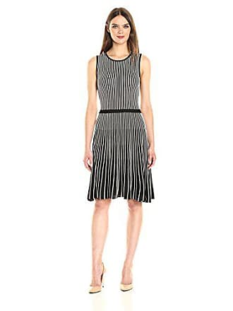 Anne Klein Womens Sleeveless Vertical Stripe Knit Dress, Black/White, M