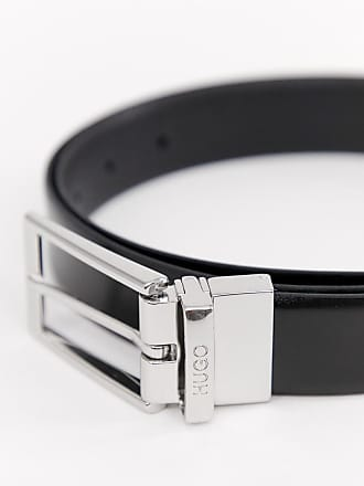 006efd155 HUGO BOSS Gilvion reversible logo keeper leather belt in black - Black