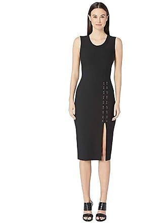 Yigal AzrouËl Sleeveless Mechinical Stretch Dress with Lacing Detail (Black) Womens Dress