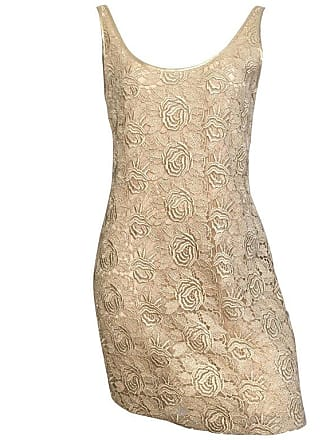 01f89943100 Saks Fifth Avenue Tom   Linda Platt For Saks Fifth Avenue Gold Lace  Cocktail Dress Size