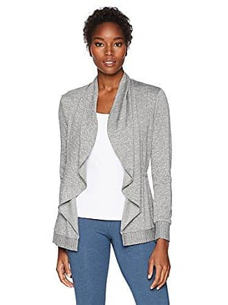 Trina Turk Recreation Womens Knuckle Down French Terry Wrap Jacket, Cement, Extra Small