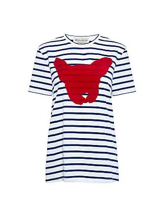 être cécile DOG FACE Animal-print Striped T-SHIRT White/ Navy