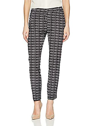 185f608030944d Adrianna Papell Womens Printed Kate fit bi Stretch Pant, Black/Ivory, 6