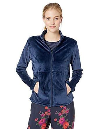 Natori Womens Solid Velour Jacket, Midnight Navy L