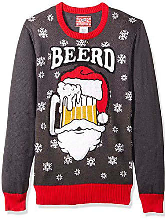 Hybrid Mens Beerd Ugly Christmas Sweater, Charcoal/red, Small