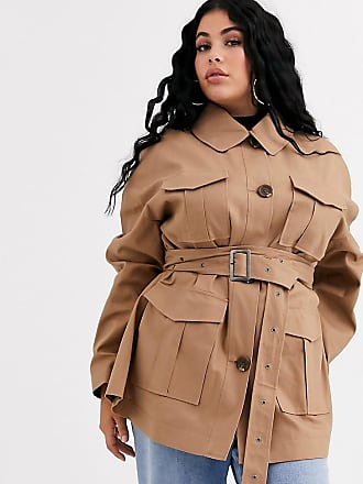 Asos Curve ASOS DESIGN Curve utility trench jacket in stone