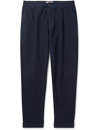 Universal Works Tapered Pleated Garment-dyed Cotton-corduroy Trousers - Blue