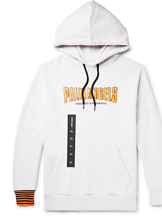Palm Angels Logo-print Mélange Loopback Cotton-jersey Hoodie - Gray