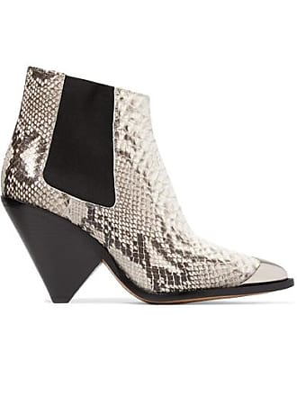360c7aa3aeb Isabel Marant Lemsey Metal-trimmed Snake-effect Leather Ankle Boots - Snake  print