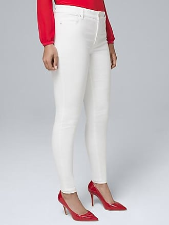 White House Black Market Womens Curvy-Fit Mid-Rise Essential Slim Jeans by White House Black Market, White, Size 12 - Regular