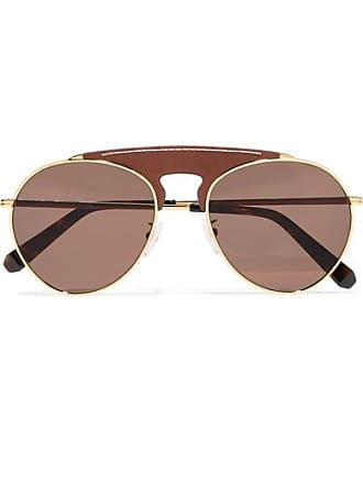 Loewe Pilot Aviator-style Gold-tone And Textured-leather Sunglasses - Brown