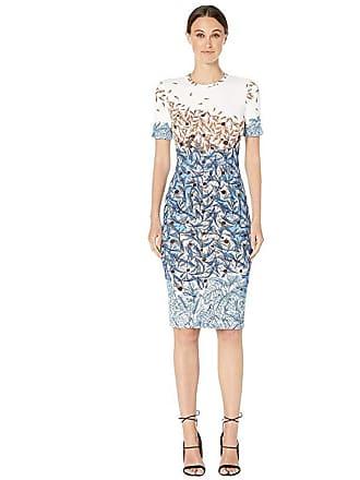 Yigal AzrouËl Falling Leaves Printed Scuba Shift Dress (Ivory Multi) Womens Dress