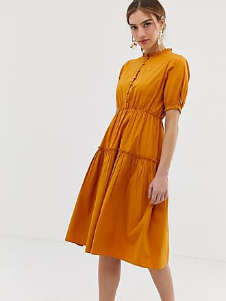 Y.A.S high neck balloon sleeve midi dress - Brown