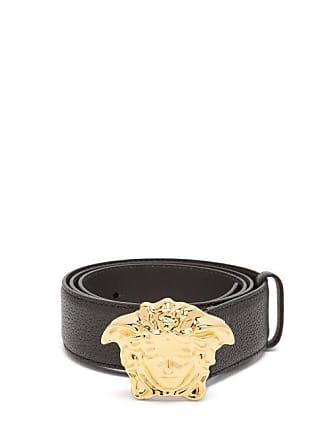 Versace Medusa Buckle Leather Belt - Mens - Black Gold