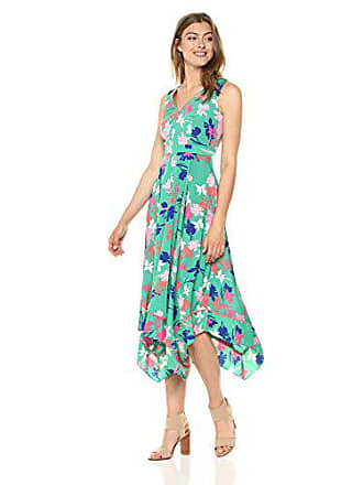Vince Camuto Womens Printed Asymmetrical Midi Dress, Green, 4