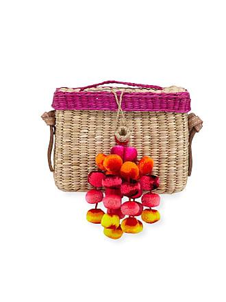 NANNACAY Roge Woven Raffia Pompom Crossbody Bag