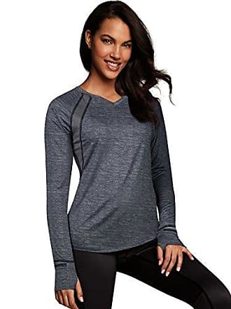 Maidenform Womens Sport Baselayer Active V-Neck Top, Charcoal Heather Print/Black, X Large