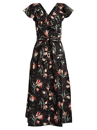 Rebecca Taylor Ikat Floral Print Cotton Dress - Womens - Black Print