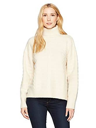 Moon River Womens Turtle Neck Boyfriend Sweater, Ivory, Small