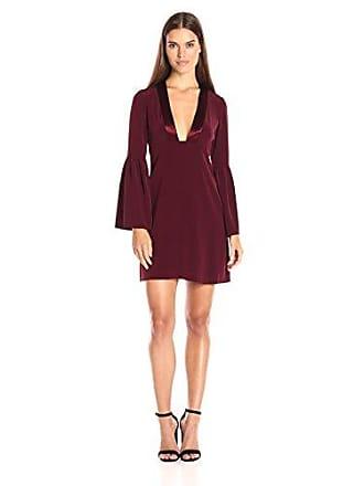Jill Stuart Womens Deep-V Long Sleeved Cocktail Dress, Oxblood, 4