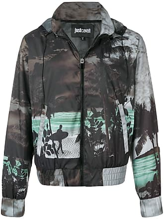 Just Cavalli printed hooded jacket - Black