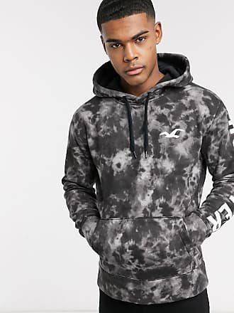 Hollister iconic print logo tie dye hooded sweat in black