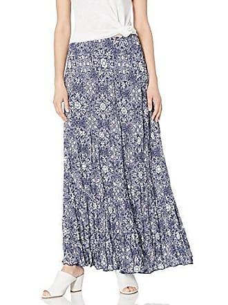 Karen Kane Womens Crushed Tiered Maxi Skirt, Print, Extra Small