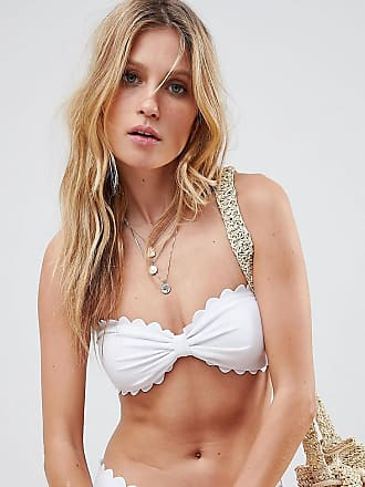 ebde9ca752a32 South Beach Exclusive mix and match scallop edge bandeau bikini top in  white - White